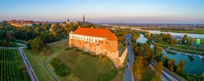 Free Sandomierz, Poland. Wide Aerial Panorama At Sunset Stock Photo - 126920090
