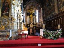 SANDOMIERZ, POLEN am 16. Oktober 2015 : Der Innenraum des cathe Lizenzfreie Stockbilder