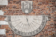 Sandomierz, town in Poland. Old town hall sundial. Royalty Free Stock Images