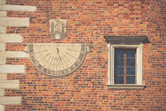Sandomierz, town in Poland. Old town hall sundial. Stock Photo