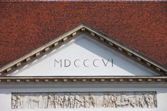 Sandor Palace Pediment in Budapest. Pediment of an early 19th century Sandor Palace in Budapest, Hungary, Neo-Classical style Stock Photos