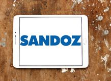 Sandoz pharmaceutical company logo. Logo of Sandoz company on samsung tablet. Sandoz is a global leader in generic and biosimilar medicines Stock Photos