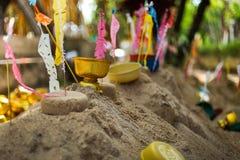 Sandpagoden für Songkran-Tage Stockfoto