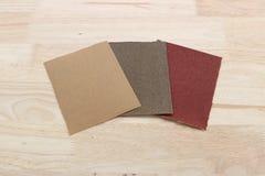 Sandpaper. Assembling furniture, sandpaper for wood sanding Stock Image