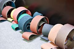 Sandpaper for grinding machines stock photo