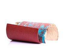 Sandpaper. New Sandpaper and used on white background Stock Image
