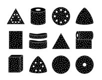 Free Sandpaper Sheets, Discs, Rolls, Triangles. Black & White Vector Illustration Of Sanding Abrasive Paper. Flat Icon Set Of Royalty Free Stock Images - 154310639
