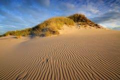 Sandpappra öknen under solnedgång i den Slowinski nationalparken i Polen Arkivfoton