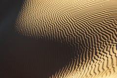 Sandpappra modellen med djupa skuggor i den Sahara öknen. Arkivbild