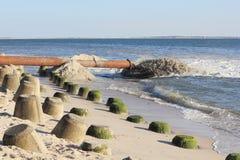 Sandpappra påfyllning för kustskyddet på Sylt Royaltyfri Fotografi