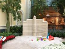 Sandpappra skulptur av den Bellagio semesterorten och kasinot Arkivbild