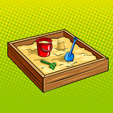 Sandpit for children pop art vector illustration Royalty Free Stock Images