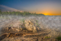 Sandpit. With mist in the morning stock photography