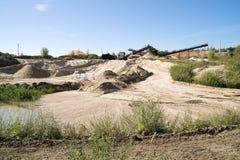 Sandpit, sable de lavage de silice Photo stock