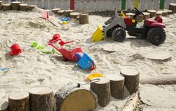 Sandpit with toys Royalty Free Stock Photo