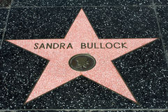 Sandra Bullock's star in Hollywood Royalty Free Stock Photography