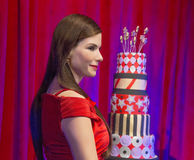 Sandra Bullock Waxed at 50. Film star Sandra Bullock's wax figure made its New York debut at Madame Tussauds for her 50th birthday. The unveiling took royalty free stock photography