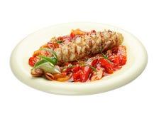 Sandre avec des l?gumes en sauce aigre-doux Cuisine asiatique photo stock