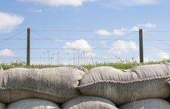 sandsäckar och försett med en hulling - binda världskriget 1 Flanders Belgien arkivbilder