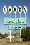 Sands Motel sign with RV Parking for $10, located at the intersection of Route 54 & 380 in Carrizozo, New Mexico Stock Photo