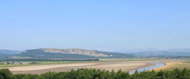 Sands in River Kent estuary and view to Whitbarrow Royalty Free Stock Image