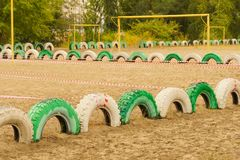 Sands sports field. Sports field from sands and tyres stock images