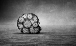Sands Of Time. And abstract aging idea as a head made od old clocks shaped as a human head in a barren desert with 3D illustration elements Stock Photos