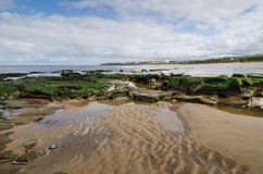 Sands of Whitley Bay. Low tide on Whitley Bay beach looking back at the town Stock Photo