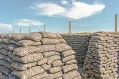 Sandsack-Gräben des Todes in großem Weltkrieg Dixmude Flandern Belgien 1 Lizenzfreie Stockfotografie