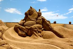 Sandskulptur Alexander storen Arkivfoto
