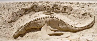 Sandskulptur auf Ibiza-Strand Stockfoto