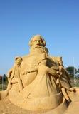 Sandskulptur av Alexander Graham Bell Arkivfoto