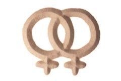 Sandskulptur des männlichen homosexuellen Zeichens Lizenzfreie Stockfotos