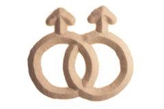 Sandskulptur des weiblichen homosexuellen Zeichens Lizenzfreie Stockfotos