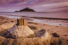 Sandskulptur för St Michaels Mount Fotografering för Bildbyråer