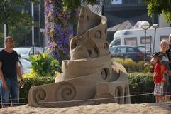 Sandskulptur i Kristiansand, Norge Arkivbild