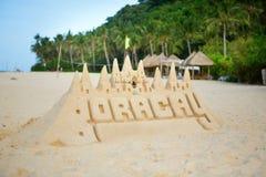 Sandslott på Boracay royaltyfria bilder