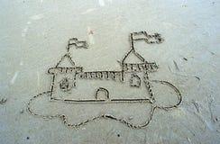 Sandslott som drar i sand royaltyfria bilder