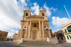 Sandsone catholic architecture of Malta. Beautiful sandstone sacral architecture cistyscape of Malta island. Beautiful landscape in south Europe Stock Photo