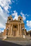 Sandsone catholic architecture of Malta. Beautiful sandstone sacral architecture cistyscape of Malta island. Beautiful landscape in south Europe Royalty Free Stock Image