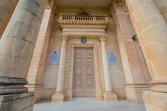 Sandsone catholic architecture of Malta. Beautiful sandstone sacral architecture cistyscape of Malta island. Beautiful landscape in south Europe Stock Images