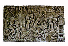 Sandstein Carvings auf dem weißen Hintergrund benutzt für die Befestigung Lizenzfreies Stockfoto