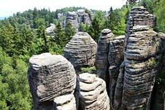 Sandsteinfelsen im tschechischen Paradies Stockfotos