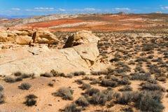 Sandsteinformation in der Wüste am Tal des Feuer-Nationalparks Lizenzfreies Stockfoto