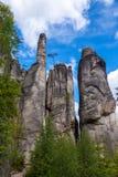 Sandsteinklippen in Aderspach, Tschechische Republik Stockbild