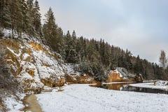 Sandsteinklippen in Nationalpark Gauja, Lettland Stockbild
