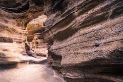 Sandsteintor an Yongmeori-Strand, Sanbang-ro, Jeju-Insel, Südkorea stockfotografie
