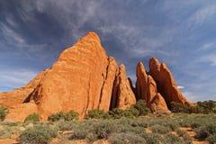 Sandsten vaggar bildande i de amerikanska sydvästerna Royaltyfria Foton
