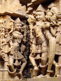 Sandstenskulpturer av folk i Indien Royaltyfri Bild
