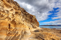 Sandstone. Beautiful natural sandstone formations in the Pitt Water region in Tasmania stock photography